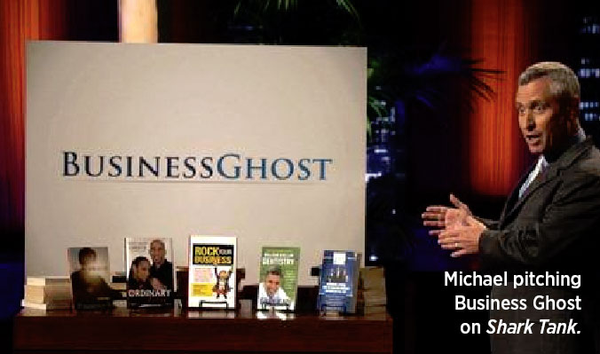 Michael pitching Business Ghost on Shark Tank